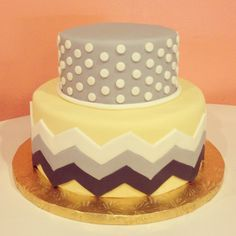 Yellow and Grey Chevron Cake by 2tarts Bakery New Braunfels, TX  www.2tarts.com