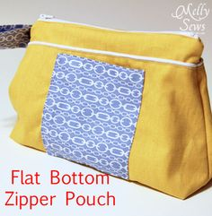 Last Minute Gift - Flat Bottom Zip Pouch - Melly Sews I need bigger makeup bags or pencil kits for kids Easy Sewing Projects, Sewing Projects For Beginners, Sewing Tutorials, Bag Tutorials, Tutorial Sewing, Zipper Pouch Tutorial, Purse Tutorial, Bag Patterns To Sew, Sewing Patterns
