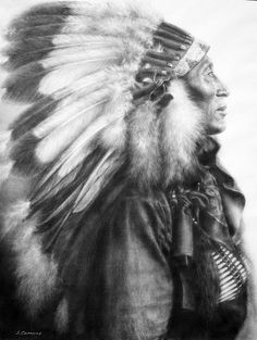 "Iron Tail (1842-1916) of the Oglala Lakota was a wise counselor and diplomat. While in Washington, D.C. he was chosen as one of 3 models for the Indian head profile on the Buffalo Nickel. Buffalo Bill was quoted as saying ""Iron Tail is the finest man I have ever known, bar none."", drawn with charcoal by S. Campos"
