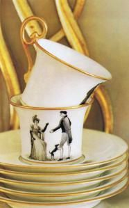 Directoire teacups made for Pelle's mother in the 40′s by Le Vase Etrusque.