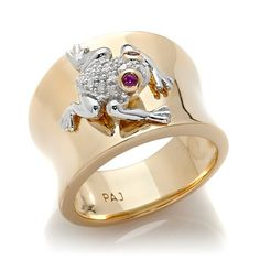 Technibond® Created Ruby Diamond-Accented Frog Ring