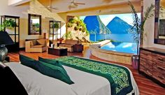 Jade Mountain: Each suite has whirring ceiling fans, a private infinity pool and island or Piton views.