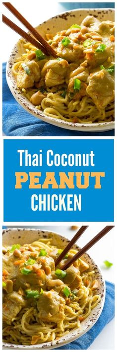 Thai Coconut Peanut Chicken - a Thai inspired chicken dish served over pasta.