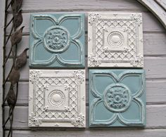 """Tin ceiling tile SET of 4) 12"""" x 12"""" framed tiles. Antique tins circa 1900. FRAMED and ready to hang. Aqua & off white. Wall art."""