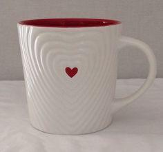 Starbucks Coffee 2008 White Rippled Heart Red Valentine 16 oz  Mug #Starbucks
