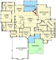 Main Floor Plan 3895 sq ft that master closet! European Plan, European House Plans, New House Plans, Dream House Plans, House Floor Plans, My Dream Home, 5 Bedroom House Plans, Home Design Floor Plans, The Plan