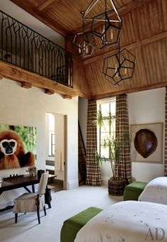 Traditional Boy's room. Plaid drapes, tongue and groove ceiling, lighting cluster from vaulted ceiling. Designed by Joan Behnke & Associates Inc. and Landry Design Group Inc.