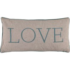 """Rodeo Home"" Green & Beige Love Embroidered Cushion - TK Maxx"