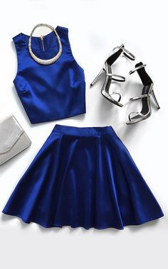 Set for Success Royal Blue Two-Piece Dress