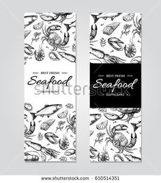 Crab lobster shrimp oyster mussel caviar and squid. Engraved style Fish and sea food restaurant menu card business promote. Seafood Party, Seafood Menu, Seafood Shop, Hummer, Free Vector Images, Vector Art, Restaurant Menu Card, Crab And Lobster, Banner Vector