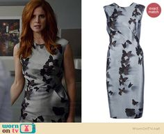 Donna's grey butterfly dress on Suits.  Outfit Details: http://wornontv.net/35366/ #Suits