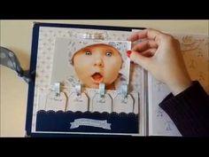 Album bebé Dayka Scrap Marcos Tutorial Scrapbook, Scrapbook Bebe, Baby Boy Scrapbook, Mini Scrapbook Albums, Mini Albums, Baby Album, Big Shot, Baby Cards, Youtube