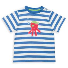 Organic Cotton Baby Pirate Octopus T-Shirt -It is so hard not to fall in love with this pirate octopus! Appliquéd on to a super soft yarn dyed stripe jersey he is definitely rather special. With popper shoulder opening for ease of dressing. Made from organic cotton because it's good for the farmer, good for the planet and good for you. Designed in England.  Made in Turkey from 100% organic cotton. Fair Trade - Solne Eco Department Store