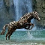 Galloping Horses Made from Driftwood by James Doran-Webb