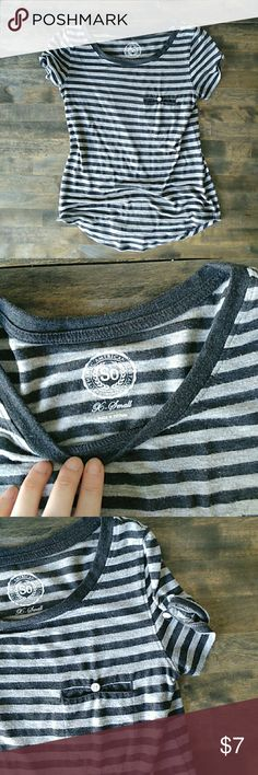 Short sleeve shirt Black and light gray stripe shirt. Worn a few times, in great condition. Pocket and sleeves have button details. Size extra small. Has extra button still. SO Tops Tees - Short Sleeve
