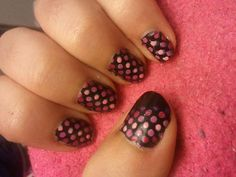 pink and black dots nail art