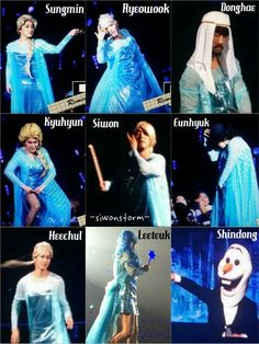 SJ as Elsa with Shinolaf ~~ who'd think Heechul would've demanded to be Anna since he loves her so much.. ^^