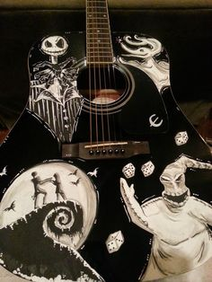 Items similar to Nightmare Before Christmas Inspired Guitar ft. Jack Skellington, Oogie Boogie, Jack & Sally and Zero! on Etsy Tim Burton Characters, Tim Burton Films, Guitar Art, Cool Guitar, Ukulele, Nightmare Before Christmas Drawings, Jack The Pumpkin King, Grunge, Oogie Boogie