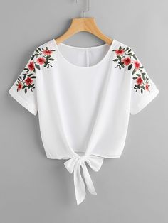 SheIn offers Flower Embroidery Kno - French Shirt - Ideas of French Shirt - Shop Flower Embroidery Knot Front Top online. SheIn offers Flower Embroidery Knot Front Top & more to fit your fashionable needs. Teen Fashion Outfits, Trendy Outfits, Girl Outfits, Fashion Dresses, Womens Fashion, Office Outfits, Dress Outfits, Embroidery Fashion, Embroidery Dress