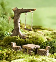 Miniature Fairy Garden Swing and Picnic Set | Miniature Fairy Gardens                                                                                                                                                                                 More