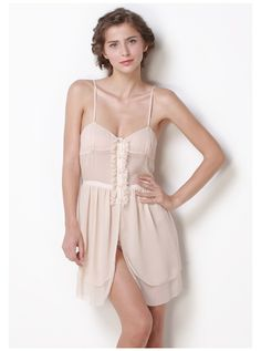 100% Georgette Silk Little Sexy Layered Slip - Sleepwear