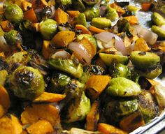 Chow Bella: Balsamic and Garlic Roasted Brussels Sprouts, Sweet Potatoes, and Onions