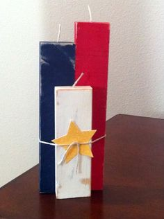 Crafts: Folk Art Projects / Candle of July Decor Patriotic Crafts, July Crafts, Summer Crafts, Holiday Crafts, Patriotic Party, Holiday Ideas, 4th Of July Party, Fourth Of July, Independence Day Decoration