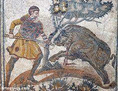 Mosaico con una escena de la caza del jabalí