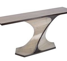 Each console is made entirely by hand and features an intriguing twisting support. As the 'design' of this base goes all around this console will free stand in a room to be viewed from … Sideboard Table, Teak Table, Console Table, Dining Table, Credenza, Table Furniture, Cool Furniture, Modern Furniture, Cabinet Furniture