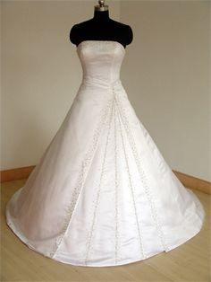 Strapless Beaded A-line Chapel Train Lace Up Satin Wedding Dress WD1029 www.tidedresses.co.uk $227.0000