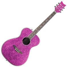 Pink Sparkle Pixie Acoustic & Electric Guitar by Daisy Rock Pink Ukulele, Pink Guitar, Cheap Guitars, Guitars For Sale, All Things Purple, Purple Stuff, Playing Guitar, Cupid, Cool Toys