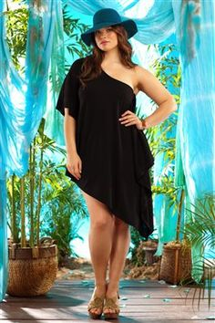 Becca Etc 'Rebecca Virtue' asymmetrical jersey cover dress (only in plus size) it's a cover-up yet it's art