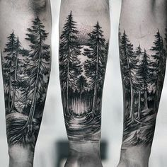 Amazing Guys Forest Inner Forearm Tattoo