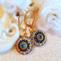Best Birthday Gifts - Blue Rhinestone Earrings - Crystal Cluster Earrings - Something Blue Wedding Jewelry - AURORA Glacier Blue