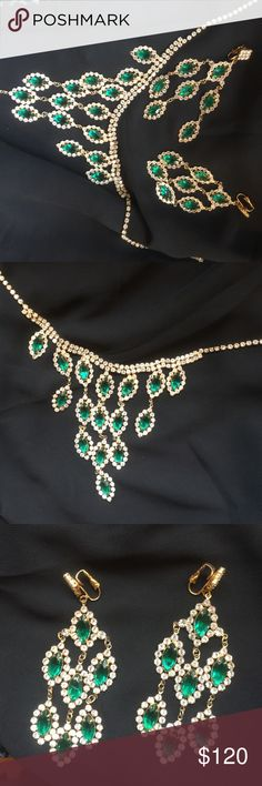 Absolutely stunning vintage set! I can't describe how beautiful this set is! Beautiful green glass( one tiny chip on one of the earrings ) not at all can be seen with naked eyes. Long beautiful chandelier earrings! Can be sold separately but I don't recommend it! no brand Jewelry Necklaces