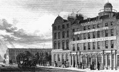 """From 1778 to 1798 James Lackington, the bookseller, had a shop at No. 32, Finsbury Place South in the southeast corner of Finsbury Square called """"The Temple of the Muses"""". The shop had a frontage of 140 feet and was one of the sights of London. On top of the building was a dome with a flagpole, which flew a flag when Mr. Lackington was in residence. In the middle of the shop was a huge circular counter around which, it was said, a coach and six could have been driven, so large were the…"""