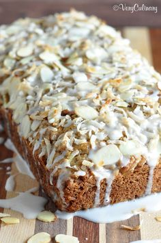 """""""Coconut Almond Banana Bread""""...    With a mixture of white and wheat flours and almond milk, this is a healthier banana bread, but doesn't lack in flavor. The glaze is optional, but I wouldn't skip it! #ad"""