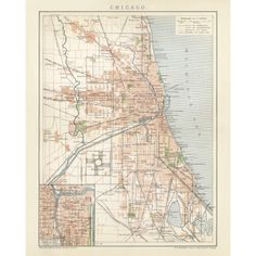 Vintage map reproduction of Chicago. Handmade apper print. Antique map print of Chicago