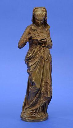 Carrier-Belleuse, Adrien-Etienne 1845 - 1902 La liseuse. Bronze. Signiert. H 38 cm — Skulpturen, Möbel, Kunsthandwerk
