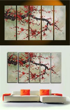 Cherry Blossom Canvas Wall Art cherry blossom tree quadtych canvas art set | blossom trees