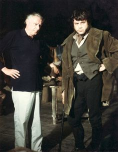 Director Carol Reed with his nephew Oliver Reed on the set of Oliver!, 1968.