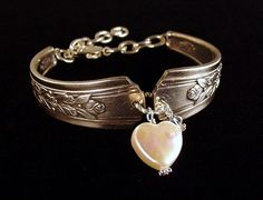 Antique rose pattern Silver Spoon Bracelet with heart shaped coin pearl and crystal