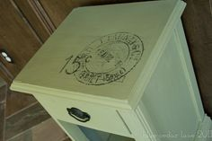 Vintage French Postmarks and Furniture :  So, I was moseying through blog world the other day when I came across this tutorial.  I usually hand draw all my own lettering but was fascinated by the idea of using stuff I already have on hand to reproduce vintage postmarks (or ANYTHING else) on my furniture.  I had already painted this small table (annie sloan chalk paint - ASCP - chateau gray) and I was pleased with the results (here's where it started)but I knew it wasn't finished, YET.