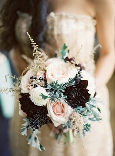 Photo: Ed Osborn Photography; Sultry Dark Floral Wedding Ideas to Spice Things Up - bridal bouquet; Ed Osborn Photography Pink Wedding Colors, Blush Pink Weddings, Wedding Color Schemes, Eggplant Wedding Colors, Deep Purple Wedding, Vintage Wedding Colors, Winter Wedding Colors, Blush Bridal, Colour Schemes