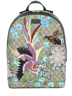 892c11d53e3e GUCCI   leather flowers embroidered backpack multicolor lock zip bird bags  Gucci Purses, Guccio Gucci