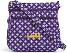 Take your die-hard LSU Tigers pride with you on-the-go with this Triple Zip Hipster purse from Vera Bradley! The embroidered LSU Tigers graphics and festive team colors will boast your passionate fandom. Everyone will know which team you support with this Vera Bradley Handbags, Vera Bradley Purses, Best Crossbody Bag Travel, Purse Crossbody, Hipster Purse, Purple Purse, White Handbag, Lsu Tigers