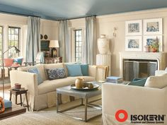 Lausanne Mantel from Francois & Co and Firebox by Isokerm--Love this simple yet elegant mantel (and blue ceilings)