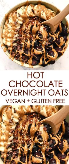 Hot Chocolate Overnight Oats # Food and Drink vegetarian hot chocolate Hot Chocolate Overnight Oats {vegan, gluten free, dairy free} – Gina Burgess Nutrition Dairy Free Overnight Oats, Chocolate Overnight Oats, Chocolate Oats, Healthy Overnight Oats, Overnight Oatmeal, Overnight Oats Almond Milk, Chocolate Brown, Breakfast And Brunch, Clean Breakfast