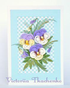 Quilling Card with elegant violet pansies - Birthday quilling Card - Love quilling card - Spring flowers