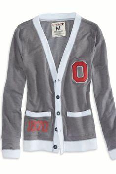 AEO Women's Ohio Vintage Varsity Cardigan (Grey)